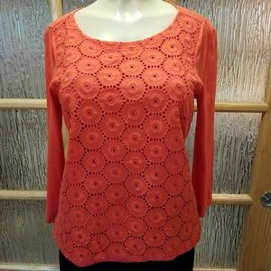 The Limited Orange Embroidered Flower Top